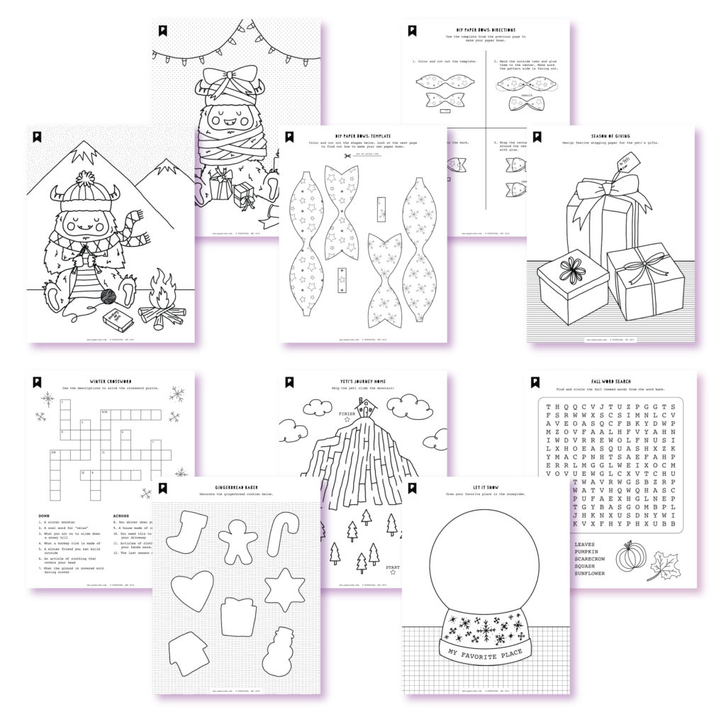 2019 November Kids Club Printables