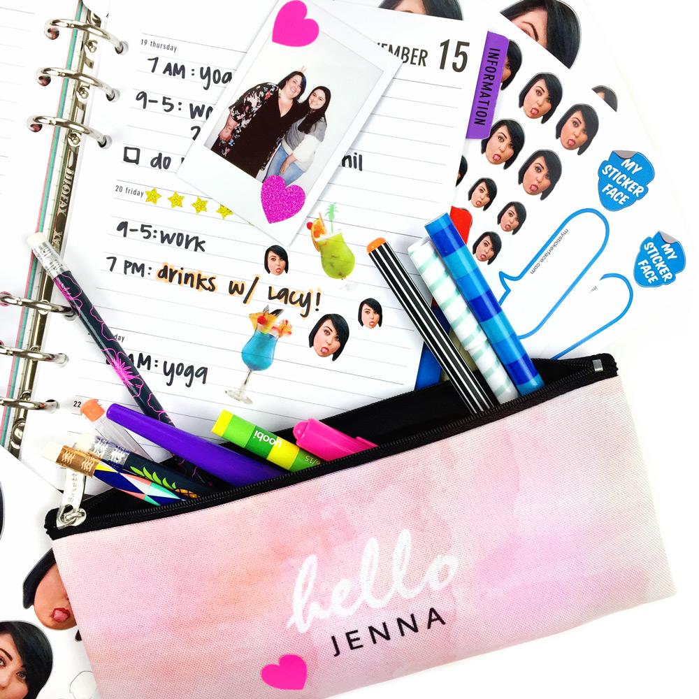 my sticker face pencil pouch