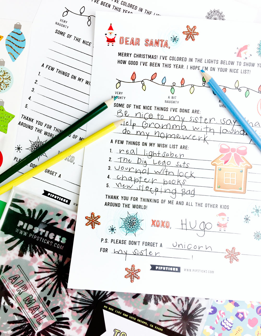 Letter To Santa Free Printable   Pipsticks