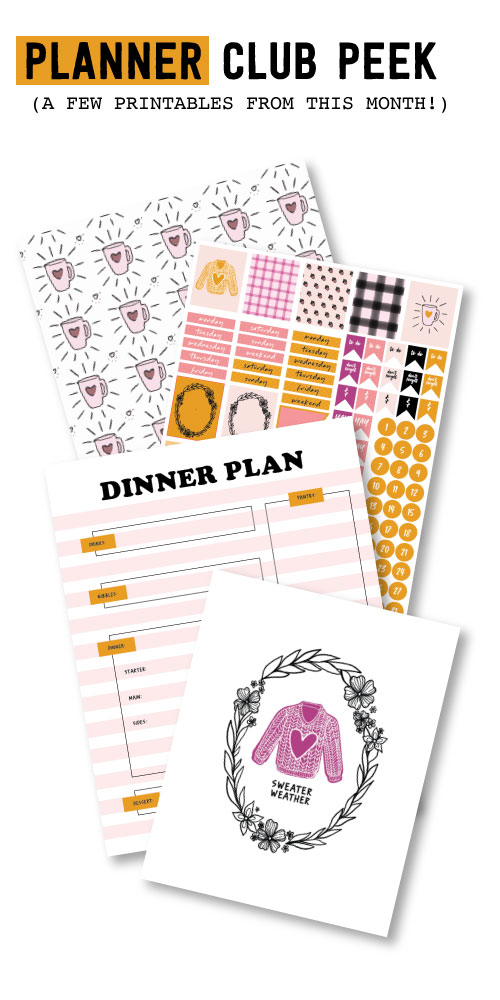2017 OCTOBER PLANNER CLUB PRINTABLES!