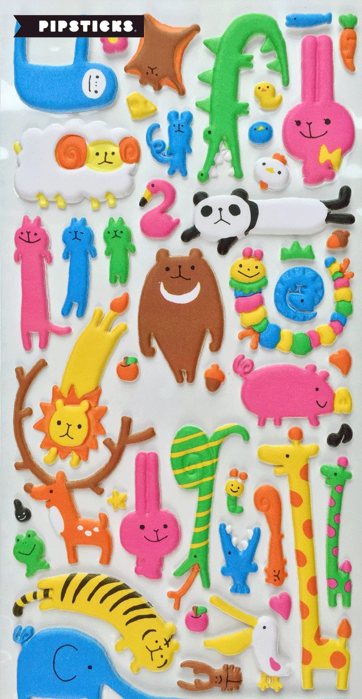 animal puffy stickers