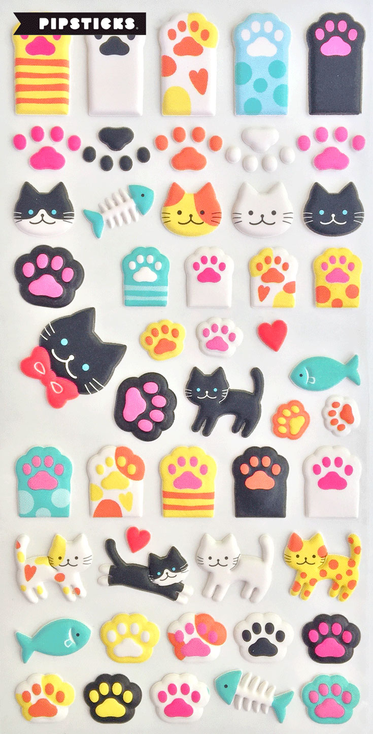puffy stickers cats