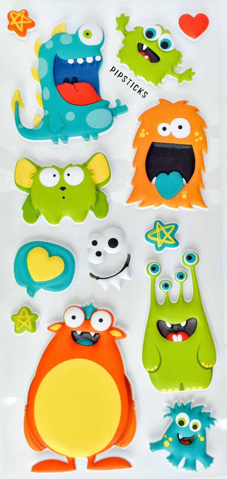 monster puffy stickers