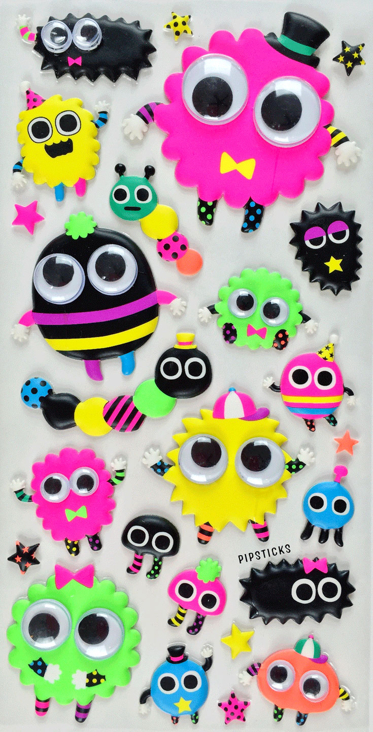 puffy stickers googly eyed